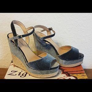 Zigi Soho Velvet platform sandals Size 6